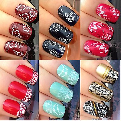 Nail Art Stickers Water Transfers Decals Tips Lace Pattern Flowers Water Lilly