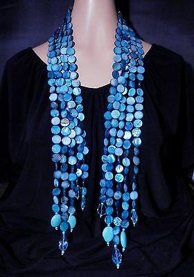 Heidi Daus MOP Beaded Scarf Necklace (Blue) Ret: $299.95