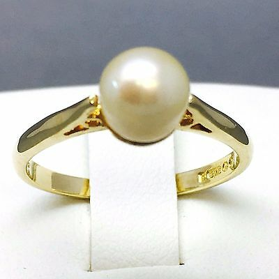 """Stunning 9Ct Yellow Gold Synthetic Pearl Anniversary Dress Ring Size """"p"""" 495"""