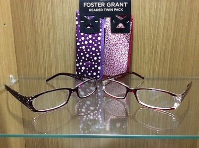 Twin Pack Of Foster Grant Fashion Reading Glasses With Cases + 2.00 Strength