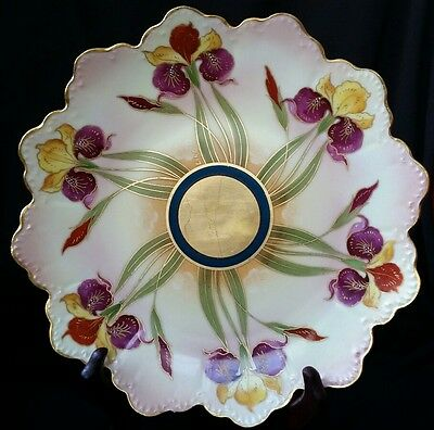 Antique Rothenhal Pickard Hand Painted Porcelain Plate Signed Orhids &gold Deco