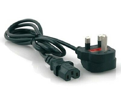 electrosmart® Black 2m Kettle Lead with Notch UK Mains Power Plug Steamer Cable