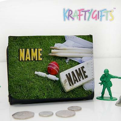 Personalised Cricket Ball Bat Game Boys Childrens Lunch Wallet Money ST183