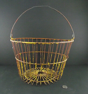 Antique  Rusty And Crusty Yellow Metal Wire Egg Basket Or Holder Farm Salvage