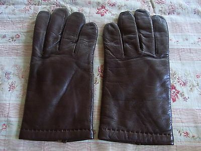 Gants N07 Homme Cuir Marron Double T7,5 Vintage 60 Man Leather Lined Gloves Xs/s