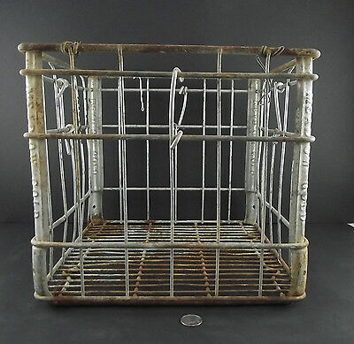 Vintage Meadow Gold Heavy Metal Milk Bottle Crate Ready For Display Or Stool Use