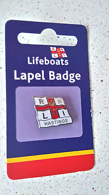 RNLI Lifeboats Lapel Flag Charity Pin Badge HASTINGS
