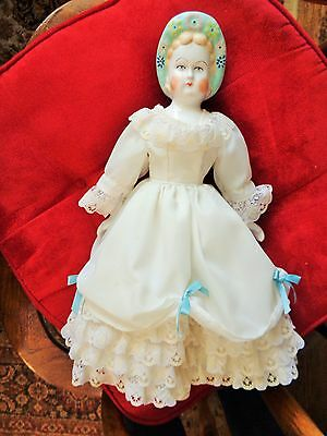 "Vintage 15"" Bisque Porcelain Doll with Dress & Shoes"