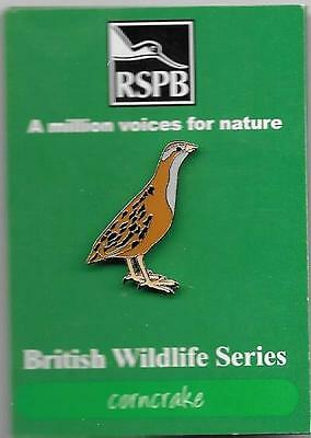 """RSPB Pin badge:  """"corncrake""""  on card of issue"""