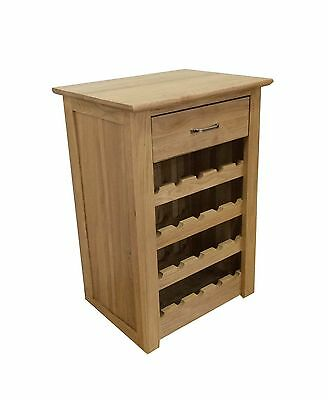 Solid Oak Wine Rack-Lamp Table Cabinet With Drawer-100% Solid Oak-In Stock-F011