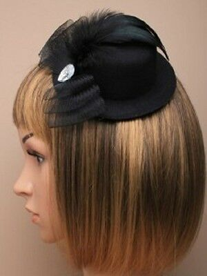 Black Top Hat Bow & Feather Fascinator/hatinator
