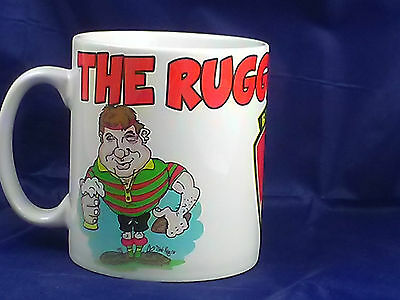 plastic or ceramic cartoon sport rugby player  gift mug can be personalised
