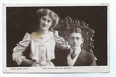 Miss Phyllis Dare and her brother.  Early Philco real photo postcard 1906.