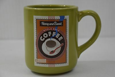 Harry and David Whole Bean Coffee Large Ceramic Mug, 2005, Green, Double Logo