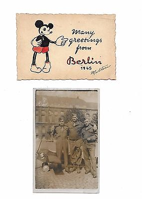 Mickey Mouse Sent By U.s. Soldier,occupied Berlin,1945, On Card.+ 1 Other Card