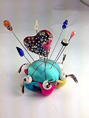 6 Chinese Men Multicolor Silk Dome Sewing Pin Cushion With 8 Antique Hat Pins
