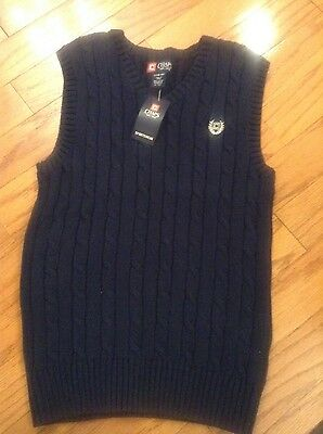 NWT Boys Chaps Navy  Sweater Vest, Large 14-16