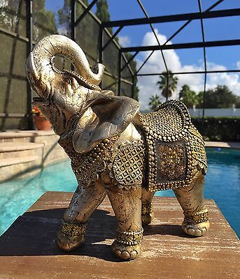 "8.5"" Mosaic TRUNK UP Saddle ELEPHANT STATUE Feng Shui Home Decor Lucky Good Luck"
