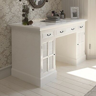 New White Double Pedestal Desk with Cabinets and Drawers Pine Bedroom Office