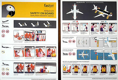 Fastjet Airbus A319 Aviation Safety Card