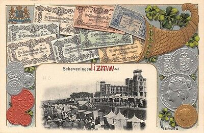 Netherlands Scheveningen Palace Hotel Bank Notes & Coins Embossed Printed Card