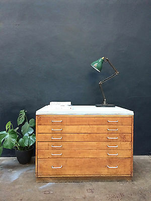 Vintage 60s A1 Plan Chest Drawers.Map.Retro.Industrial Shop Fit Haberdashery