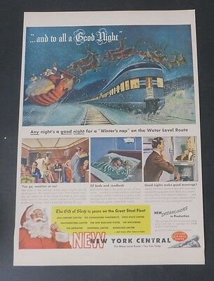 Original Print Ad 1946 NEW YORK CENTRAL to all a Good Night!