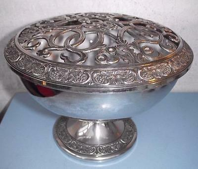 Vintage Intricate Lattice Silver Plated Rose Bowl Omerod Sheffield England