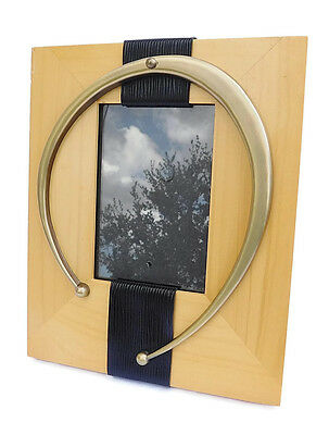 Burnes of Boston Wood Brass & Leather Abstract Picture Frame