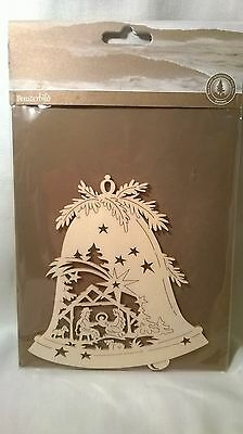 Christmas decoration german wooden hanging nativity scene on bell. New