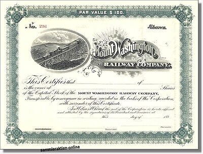 Mount Washington Railway Company  New Hampshire - Aktie 189x - sehr selten