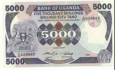 Uganda ... P-24b ... 5000 Shillings ... 1986…  * CHOICE UNC*