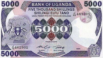 Uganda ... P-24b ... 5.000 Shillings ... 1986 ... * CHOICE UNC*