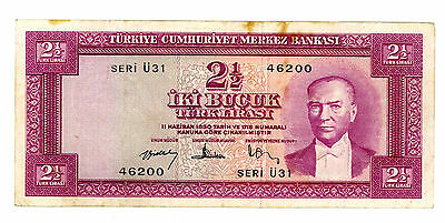 Turkey … P-152a … 2  1/2 Lirasi … L.1930(1957) … *VF*