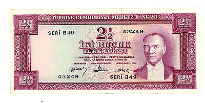 Turkey … P-153 … 2  1/2 Lirasi … L.1930(1960) … *XF+*