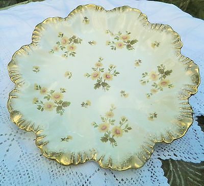 Antique Gold Gilded Ridgeways plate early 1900's HYDE pattern 9 inch cake plate