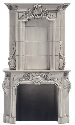 1 /12 scale Dolls House Furniture    Stone type Fireplace  DHD4152gy  Grey