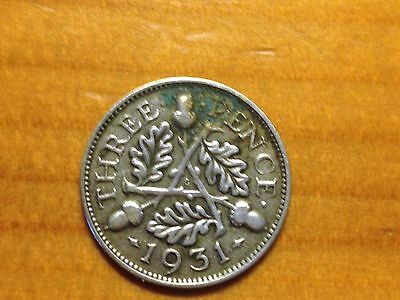 1931 George V Silver Three Pence Coin