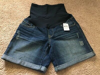 NWT Oh Baby By Motherhood Maternity Secret Belly Blue Jean Shorts Size Small S