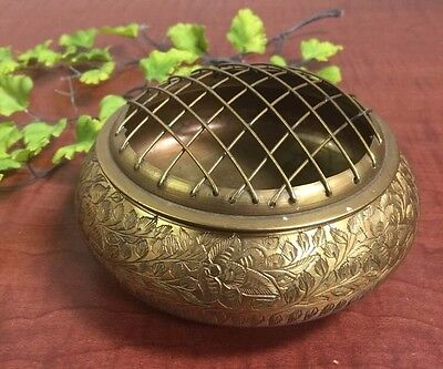 "Vintage Round Brass Flower Frog Etched Design With Screen MYK India 4"" Round"