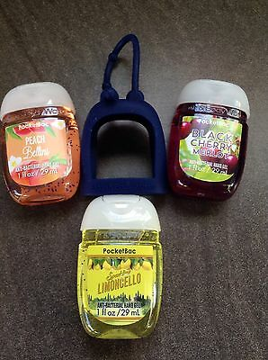 BATH AND BODY WORKS 3 X 29ml Hand Sanitiser and Holder