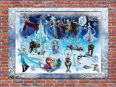 Frozen Disney Characters Collage Poster Canvas  A4 A3 Art Print Frame