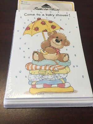 SUZY'S ZOO Baby Shower Announcement Sealed Pkg of 10 Spafford Umbrella Bear