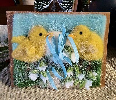 OOAK Artist Needle Felted Easter Chicks And Egg  Glittered Blank Greeting Card