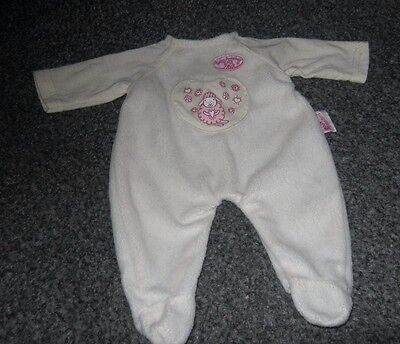 Baby Annabell   - Romper Baby Grow  - Fits 14 inch Doll - White/Cream