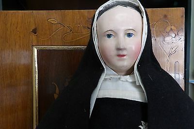 Antique  Early Paper Mache Nun Doll with Original Detailed Habit