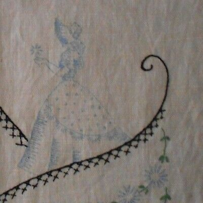 Vtg Pure Linen Embroidery Table DRESSER SCARF Runner Hemstitched 42 x 14 USA