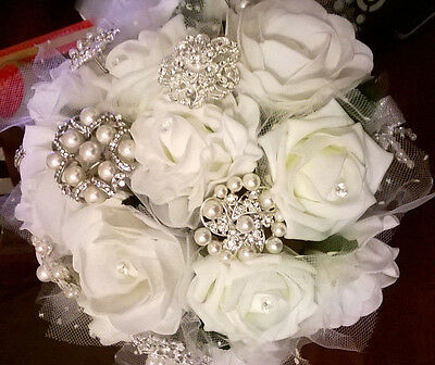 Bridal/bridesmaid Brooch Bouquet, Variety Of White Roses, Diamante, Pearls