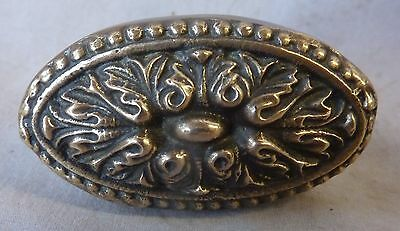 "Door Knob (single) CAST BRASS Antique oval fancy floral Victorian2 3/8"" x 1 3/8"""