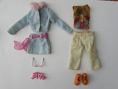 Barbie Doll Casual Pink and Orange Fashion Outfits Clothing And Shoes